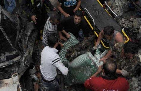 Photos of Terrorist Bombing in Mazzeh Jabal 86 in Damascus