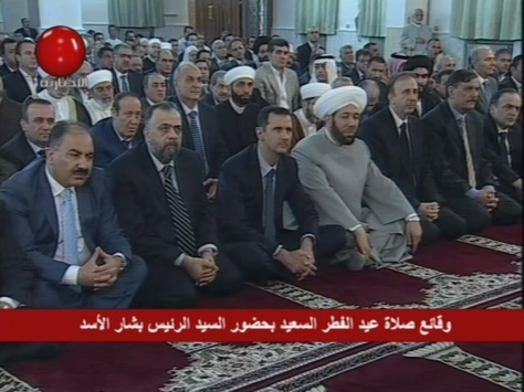 President Bashar al-Assad performed Thursday Eid al-Fitr Prayer at Anas Bin Malek Mosque in Damascus.