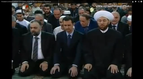 President al-Assad performs Eid al-Adha prayer at Hassiba mosque in Damascus