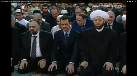 President al-Assad performs Eid al-Adha prayer at Hassiba mosque in Damascus