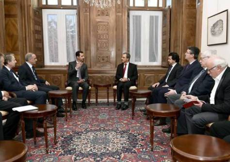 President al-Assad and French delegation-3